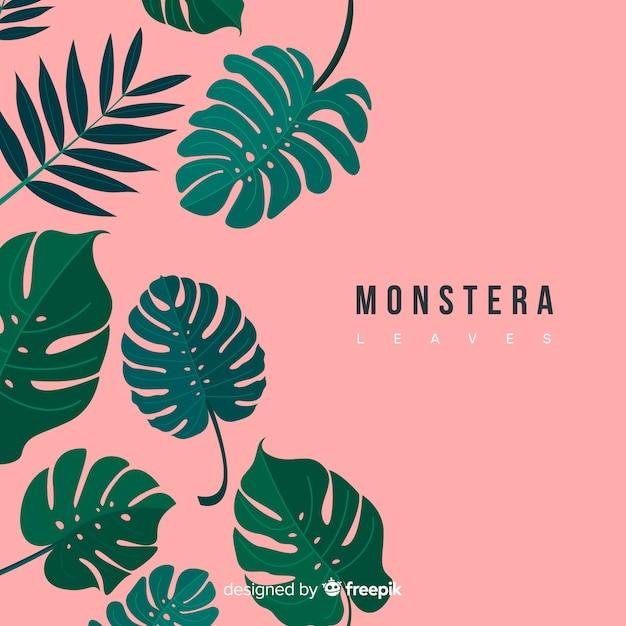 Monstera dessiné à la main laisse tomber fond Vecteur gratuit