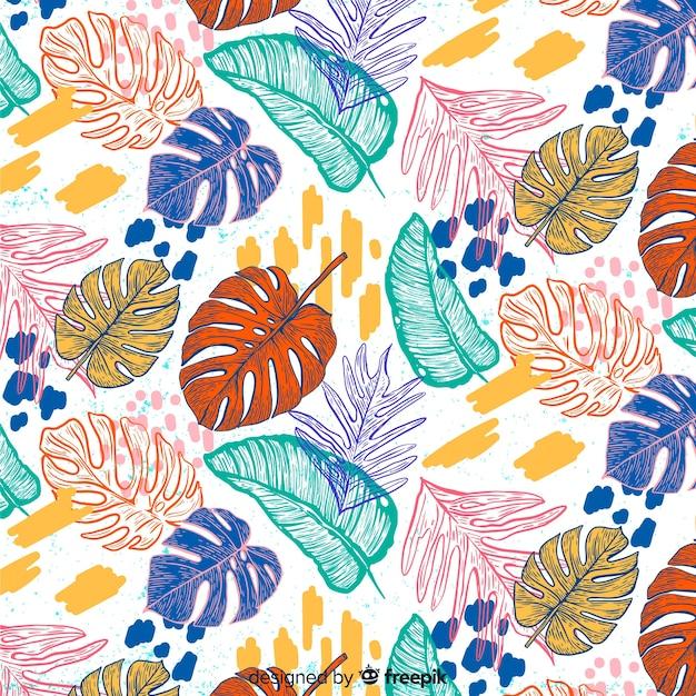 Monstera feuilles en arrière-plan dessiné à la main Vecteur gratuit