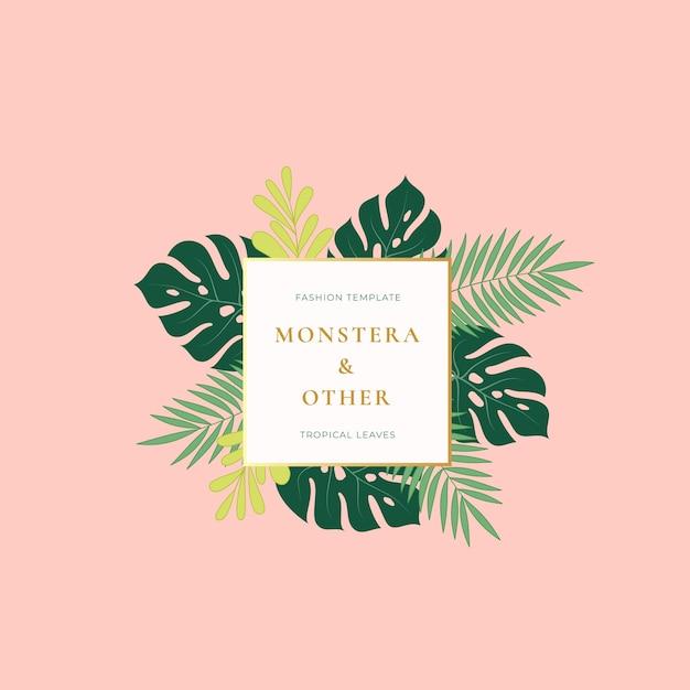 Monstera Palm Tropical Leaves Fashion Sign, Emblème Vecteur gratuit
