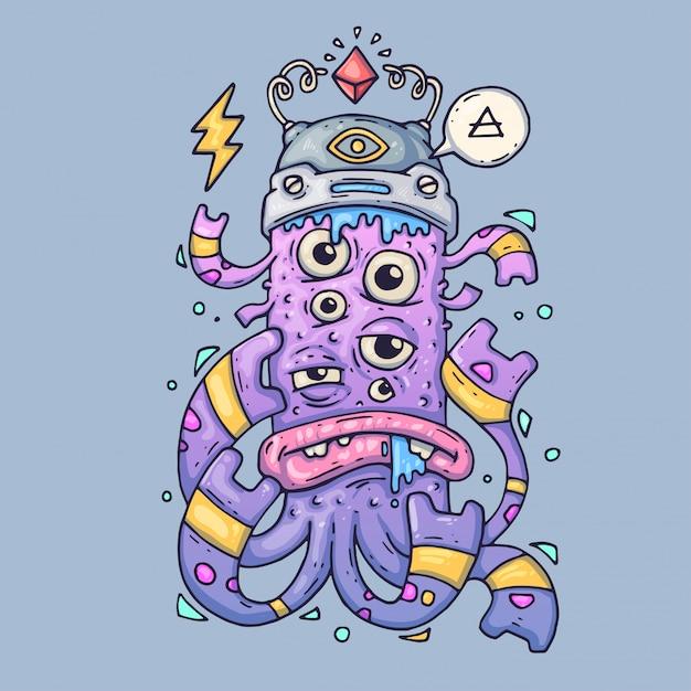 Monstre Au Dessin Multi-yeux. Drôle De Créature. Illustration Vectorielle De Dessin Animé Vecteur Premium