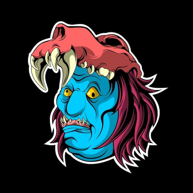 Monstre au visage bleu Vecteur Premium