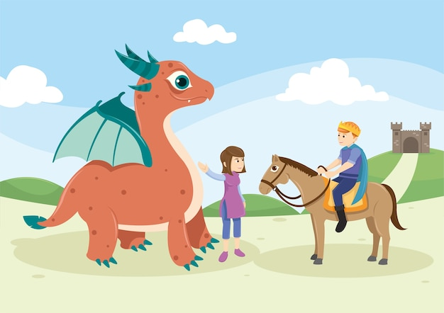 Monstre et chevalier mignon dans le conte de fées Vecteur Premium