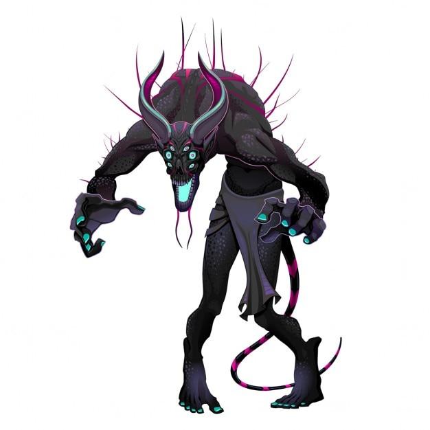 Monstre avec des couleurs sombres Vecteur gratuit