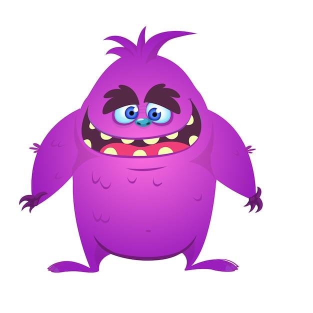 Monstre de dessin animé heureux et mignon. illustration vectorielle Vecteur Premium