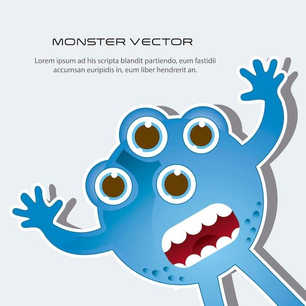 Monstre effrayé bleu avec espace pour illustration vectorielle copie Vecteur Premium