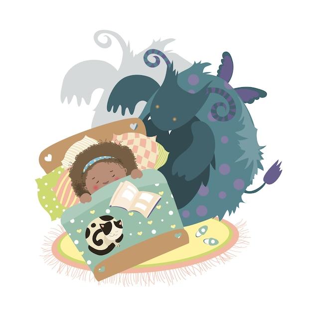 Monstre est assis au lit et fille effrayée Vecteur Premium