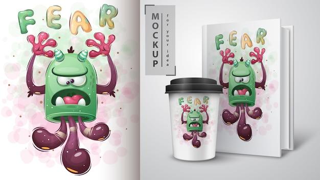 Monstre Mignon. Affiche Et Merchandising Vecteur gratuit