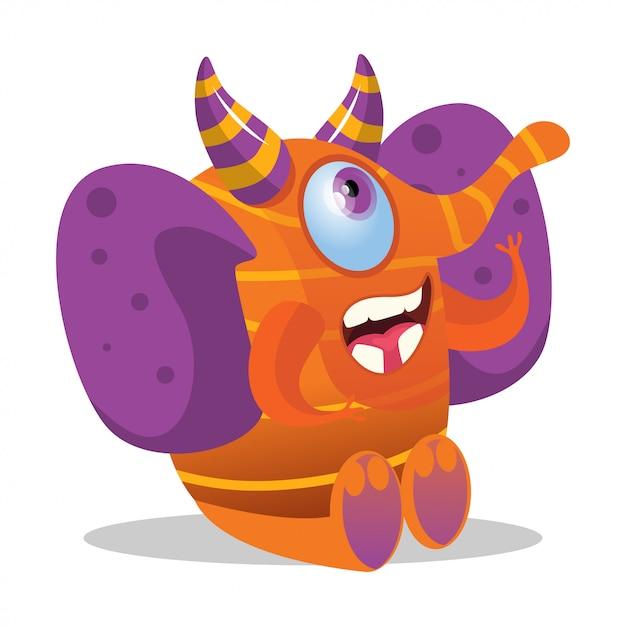 Monstre mignon dessin animé éléphant heureux avec des cornes Vecteur Premium