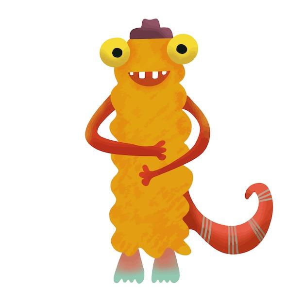 Monstre monstre adorable mignon heureux. Vecteur Premium