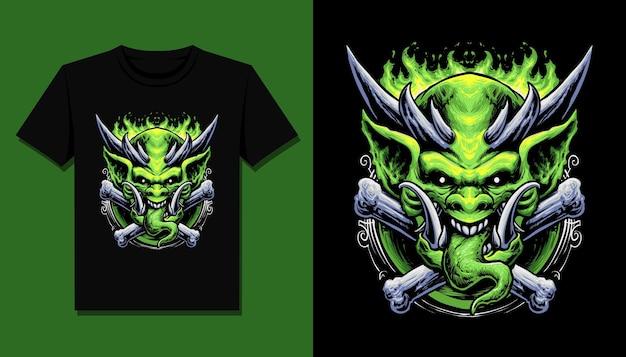 Monstre Ogre Vert Pour La Conception De T-shirt Vecteur Premium
