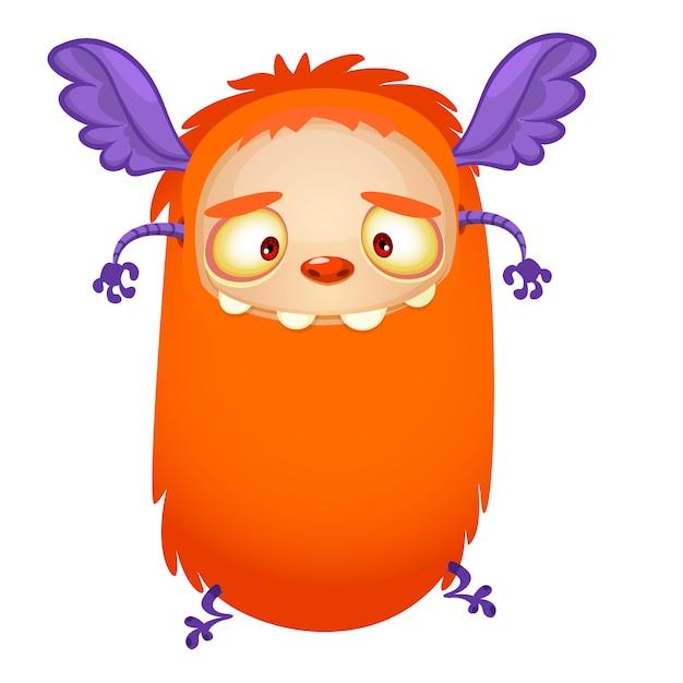 Monstre orange volant heureux dessin animé. illustration vectorielle pour halloween Vecteur Premium
