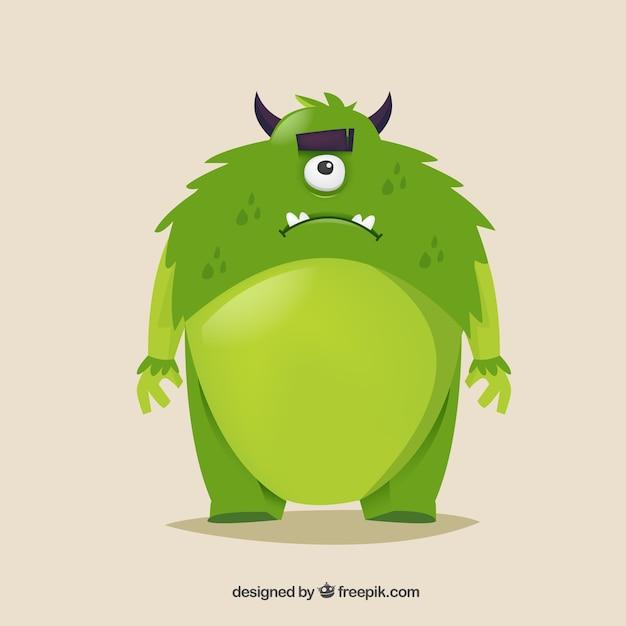 Monstre vert Vecteur gratuit
