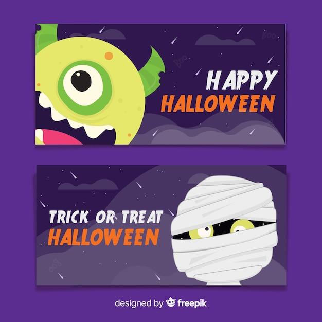 Monstres de bannières plates d'halloween Vecteur gratuit