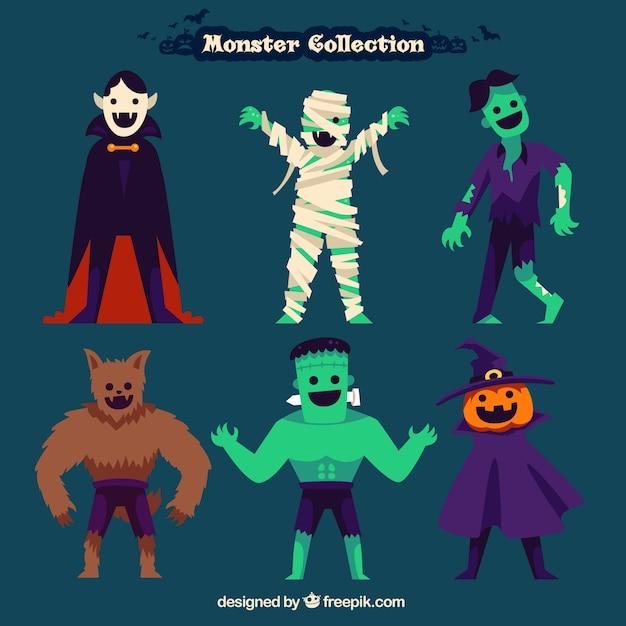 Monstres halloween collection Vecteur gratuit
