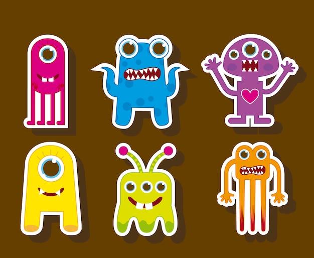 Monstres mignons colorés sur fond marron Vecteur Premium