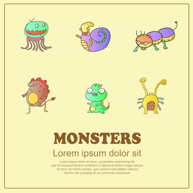Monstres Mignons De Dessin Classique Doodle Vecteur Premium