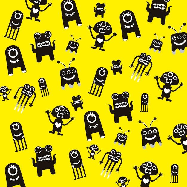 Monstres noirs sur fond jaune Vecteur Premium
