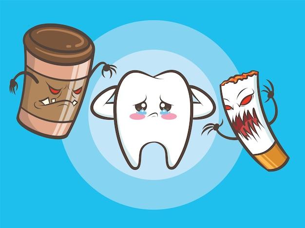 Les Monstres De Tasse De Café Et Les Zombies De Cigarette Tuent La Dent Saine Mignonne. Vecteur Premium