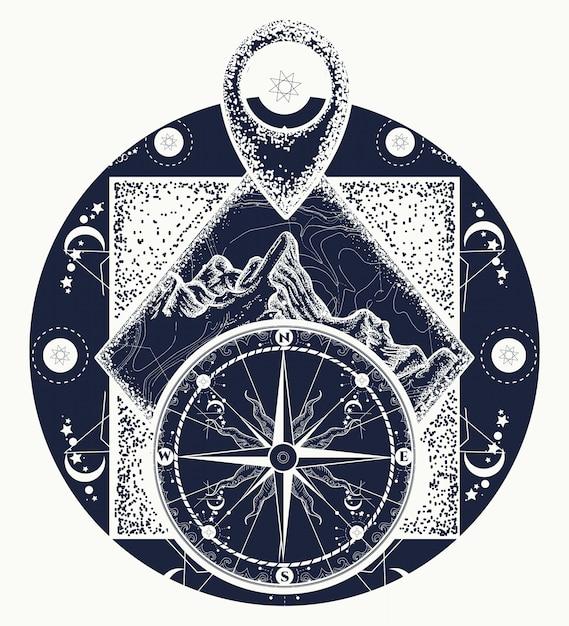 Montagne, pointeur de la carte et tatouage d'une boussole Vecteur Premium