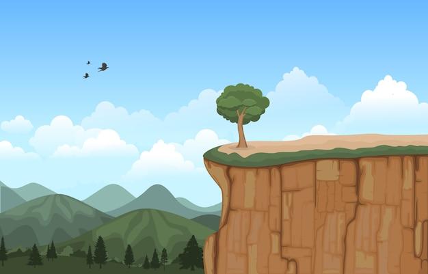 Montagne, vallée, falaise, arbre, nature, paysage, illustration vectorielle Vecteur Premium