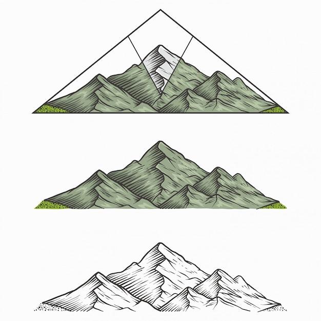 Montagne Vintage Dessiné à La Main Vecteur Premium