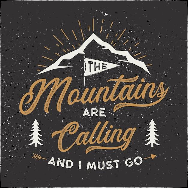 Les Montagnes Appellent L'illustration Vecteur Premium