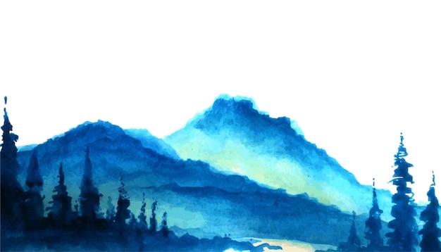 Montagnes Avec Arbres Forestiers Vecteur Premium