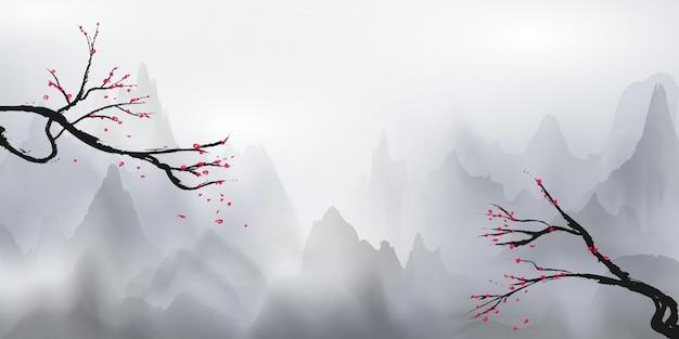 Montagnes Blanches Et Brume Blanche Et Arbres Suspendus Décorés De Fleurs, Aux Couleurs Des Cerisiers En Fleurs. Vecteur Premium