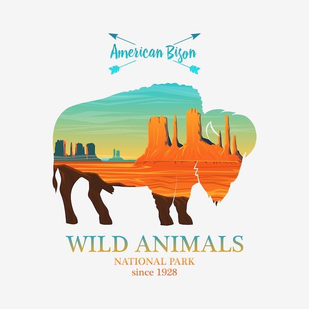 Montagnes Et Buffles, Animal Sauvage Silhouette. Exposition Multiple Ou Double. Vecteur Premium