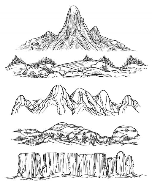 Montagnes et collines dessinées à la main Vecteur Premium