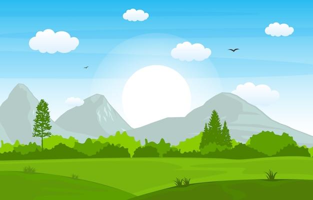 Montagnes collines herbe verte arbre nature paysage ciel Vecteur Premium