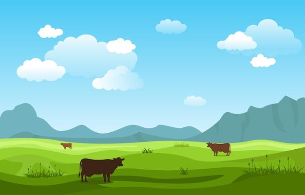 Montagnes collines herbe verte nature paysage ciel Vecteur Premium