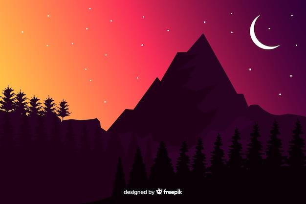 Montagnes dans le fond sombre Vecteur gratuit