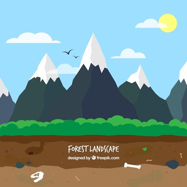 Les montagnes enneigées paysage Vecteur gratuit