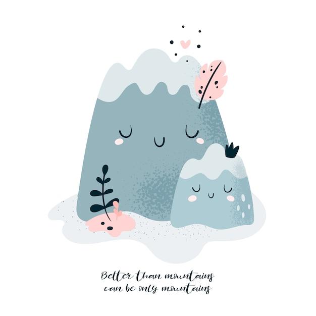 Montagnes de la famille mignonne. mère et bébé mieux que les montagnes ne peuvent être que des montagnes Vecteur Premium