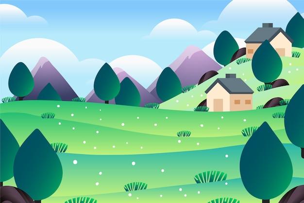 Montagnes Et Maisons Mignonnes Paysage De Printemps Vecteur gratuit