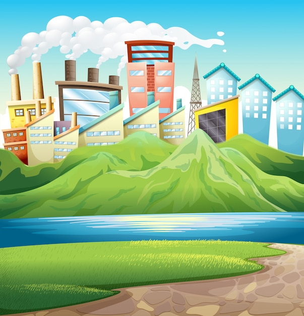 Montagnes vertes près de la rivière et des bâtiments Vecteur gratuit