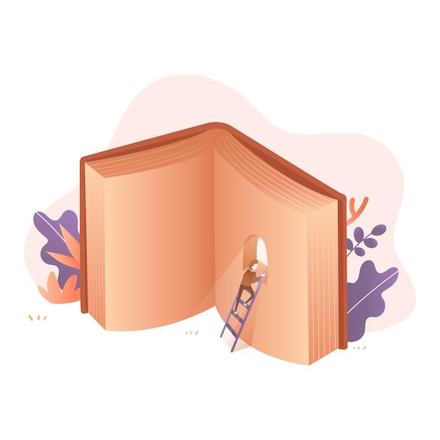 Montez et regardez vers le haut illustration du livre Vecteur Premium