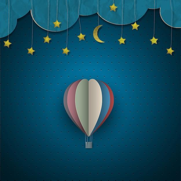 Montgolfière et lune avec étoiles Vecteur Premium