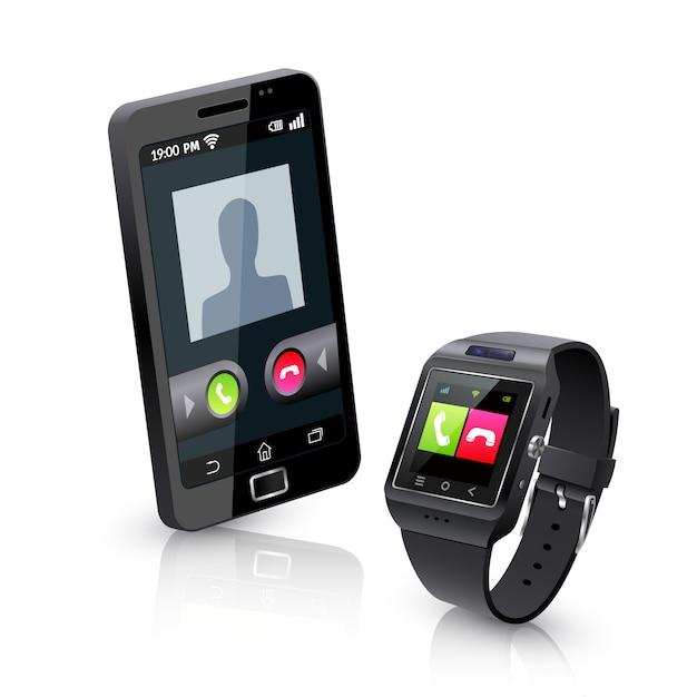 Montre intelligente avec composition réaliste de téléphone Vecteur gratuit