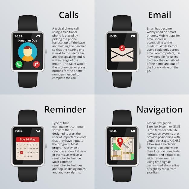 Montre Intelligente. Réception D'appels Et De Messages Non Lus, Carte De Navigation Et Calendrier. Technologie Et Design, Veille Et Email. Vecteur gratuit