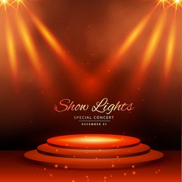 montrer les lumières spot avec un fond de podium Vecteur gratuit
