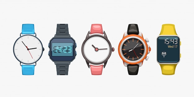Montres-bracelets Sur Blanc Vecteur Premium