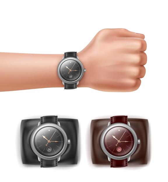 Montres-bracelets Différentes Couleurs Et Main Avec Montre Vecteur Premium