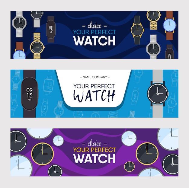 Montres Ensemble De Conception De Bannières Colorées. Montres-bracelets De Différents Styles Vector Illustration Vecteur gratuit