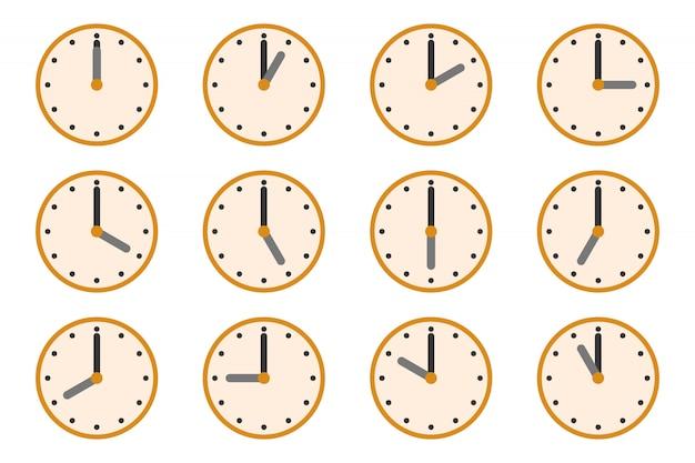 Montres Avec Des Temps Différents. Icônes D'horloge Vecteur Premium