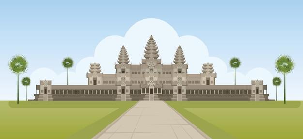 Monument D'angkor Wat Au Cambodge Vecteur Premium