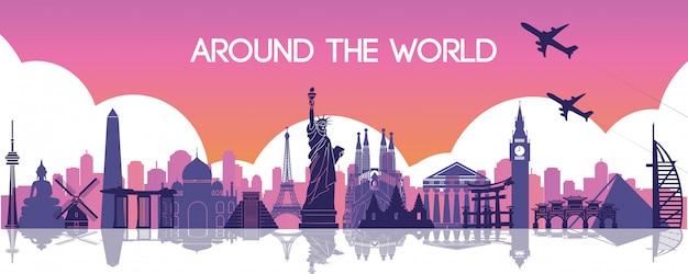 Monument célèbre du monde, destination de voyage Vecteur Premium