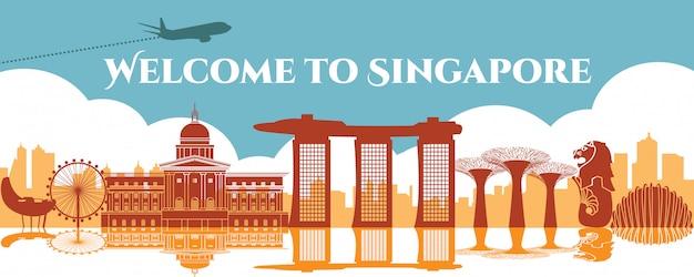 Monument Célèbre De Singapour Vecteur Premium
