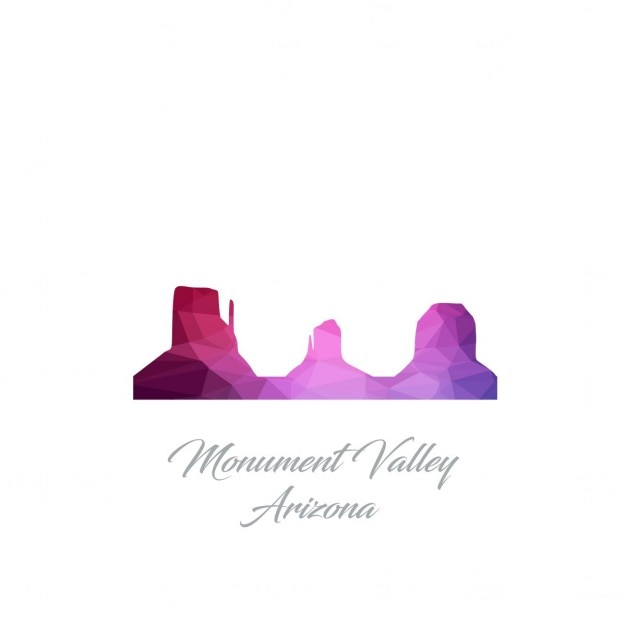 Monument valley arizona polygon logo Vecteur gratuit
